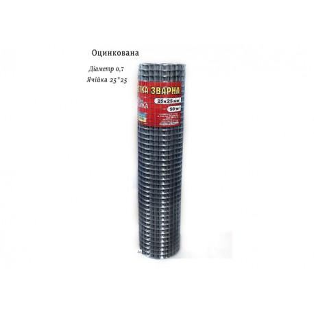 Сетка сварная  оц 25х25 ф 0,7 1,0х50м