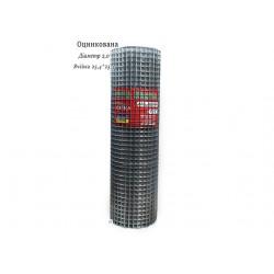 Сітка зварна оцинкована 25.4х25.4 ф1,8 висота 1м довжина 15м