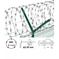 Дріт колючий Єгоза Заграда СББ-600/3 ф1.85/2.85мм довжина 19-26м