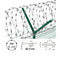 Дріт колючий Єгоза Заграда СББ-400/3 ф2.5/3.5мм довжина 15-21м