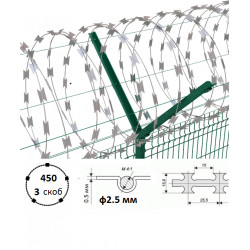 Дріт колючий Єгоза Заграда СББ-450/3 ф2.5/3.5мм довжина 17-23м