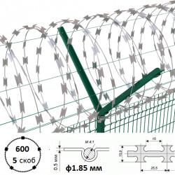 Дріт колючий Єгоза Заграда СББ-600/5 ф1.85/2.85мм длина 19-15.5м